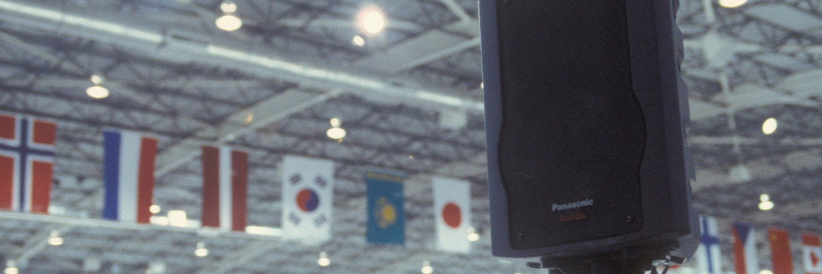 Photo: RAMSA speaker installed at a venue of the Olympic Winter Games Salt Lake 2002