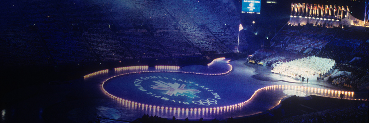 Photo: The Olympic Winter Games Salt Lake 2002 emblem and Olympic rings being displayed on the stadium's ground at the opening ceremony of the Olympic Winter Games Salt Lake 2002
