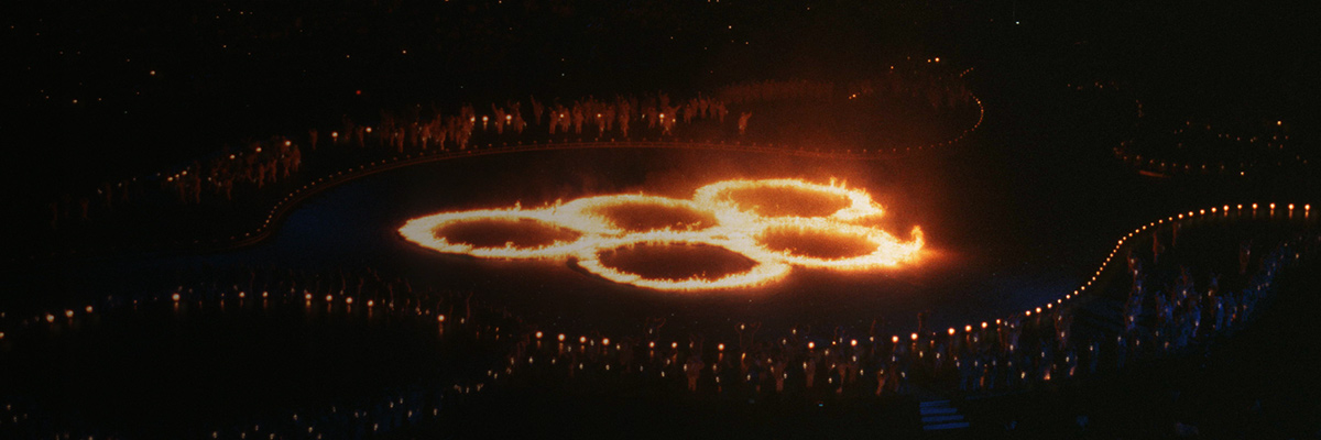 Photo: The Olympic rings being displayed with fire on the stadium's ground at the opening ceremony of the Olympic Winter Games Salt Lake 2002