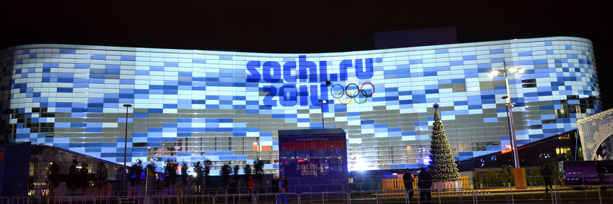 Photo: Panoramic view of images projected using DLP projectors and projection mapping technology on the facade of the Iceberg Skating Palace at the Sochi Olympic Park