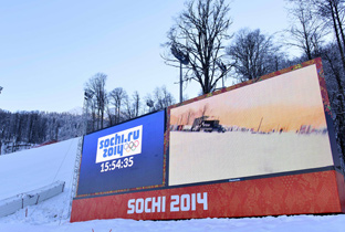 Photo: Time and a view of a venue being shown on a large display unit installed at a venue of the Olympic Winter Games Sochi 2014