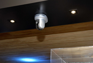Photo: Indoor preset combination security camera installed on the ceiling of a facility