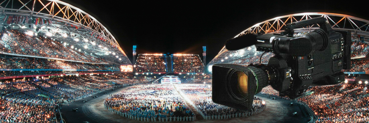 Photo: Camera recorder and panoramic view of the stadium where the opening ceremony of the Olympic Games Sydney 2000 was held