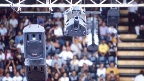 Photo: RAMSA speakers suspended from the ceiling of a venue of the Olympic Games Sydney 2000