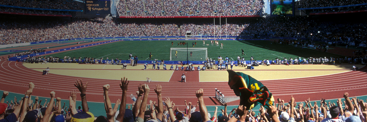 Photo: Panoramic view of one of the football venues of the Olympic Games Sydney 2000 filled to capacity with spectators