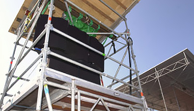 Photo: RAMSA speakers installed on a temporary stand at the beach volleyball venue of the Olympic Games Sydney 2000