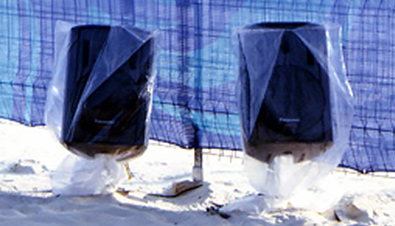 Photo: RAMSA speakers installed on the beach at the beach volleyball venue of the Olympic Games Sydney 2000