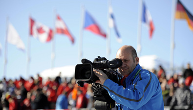 Photo: Cameraperson using a P2HD Series HD camera recorder at one of the venues of the Olympic Winter Games Vancouver 2010