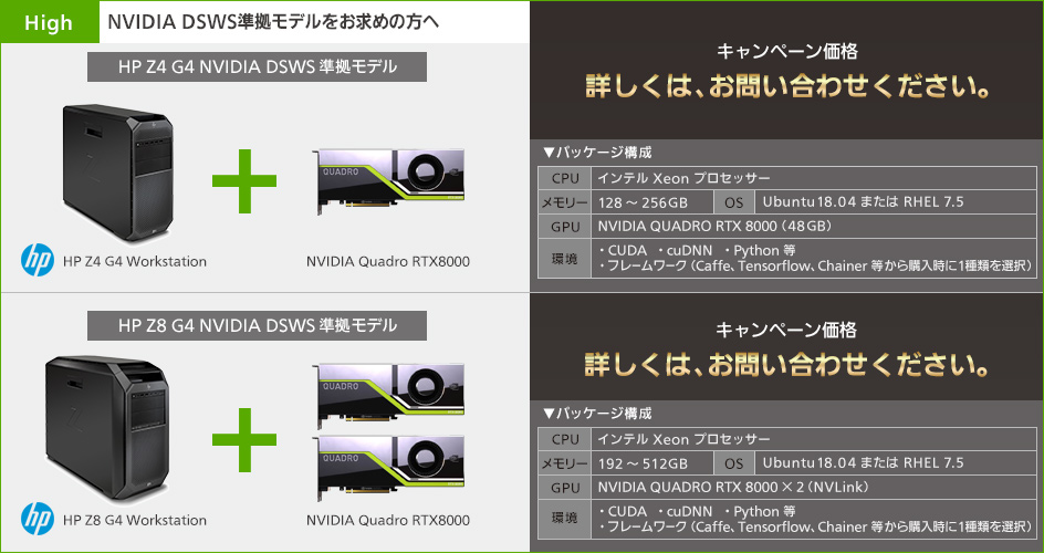 【Highモデル】HP Z4 G4 Data Science WorkstationとNVIDIA Quadro RTX8000/HP Z8 G4 Data Science WorkstationとRTX8000x2の構成 キャンペーン価格:詳しくは、お問い合わせください。