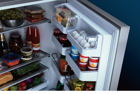 Photo: Refrigerators filled with food