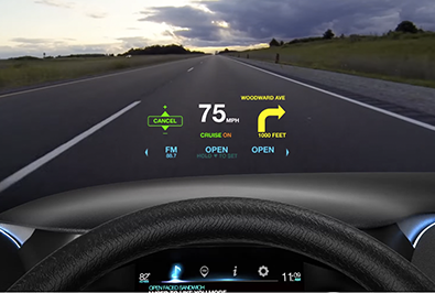 Photo: The heads-up display concentrates information on the windshield