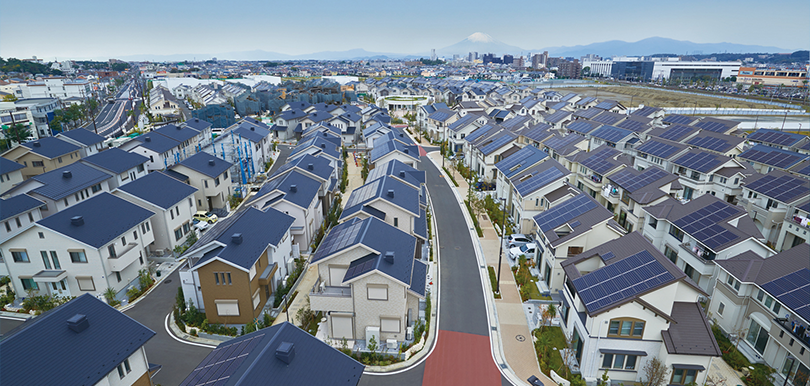 Photo: Towns lined with homes containing photovoltaic modules on the roof
