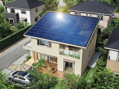Photo: Net Zero Energy Houses with photovoltaic modules covering the entire roof