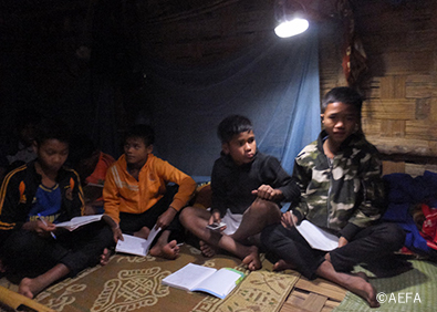 Children are studying under the light ©AEFA