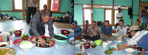 Photo left: People prepare lunch./Photo right: The health center of Marsedan Raya village