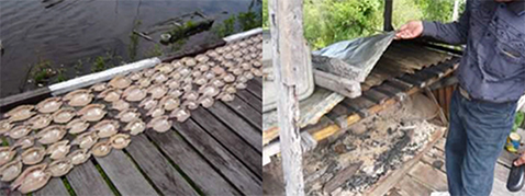 Photo left: Process in making dried salted fish/Photo right: Process in making smoked fish