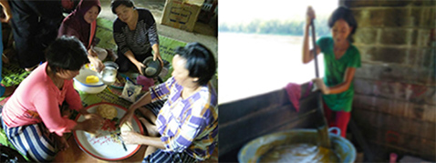Photo left: Process in making fish powder by woman/Photo right: Process in making fish cake by woman