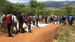 Road improvement work conducted by the NPO CORE (Community Road Empowerment)