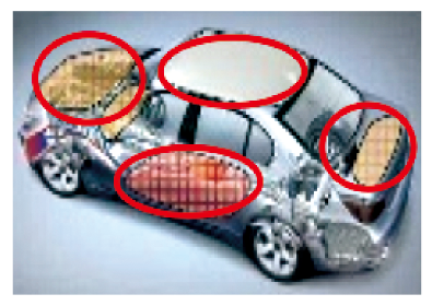 Image of plane view of a car using functional materials for bonnet, roof, trunk, and doors