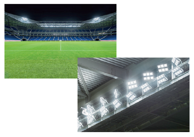 Photo: Stadium with lighting system using laser technology and Next-generation headlight installed into ceiling