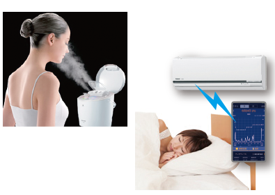 "Photo: A woman using Panasonic's beauty product: Facial steamer ""nanocare"", and a woman sleeping in a bed using ""Oyasumi Navi"" app creating an optimal air-conditioned sleep environment"