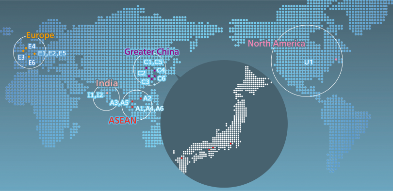 Global R&D Map of Panasonic. 6 areas as Europe, Greater China, ASEAN, India, North America. Details are below.