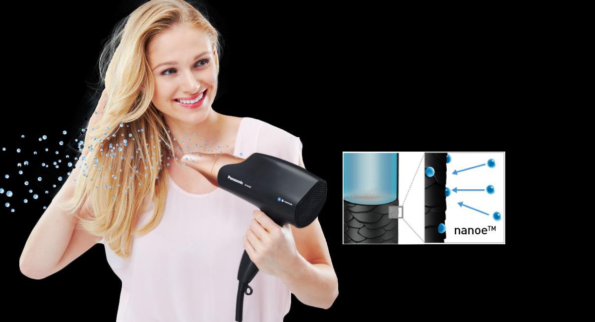 Inovativní technologie Nanoe™ vysoušeče vlasů Panasonic EH-NA65 se stará o vyvážený poměr vlhkosti vašich vlasů a zajišťuje jim viditelný lesk a celkově uhlazený vzhled