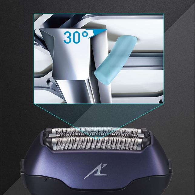 Vnitřní břity s nano úpravou jsou vybroušené do sklonu 30˚, aby efektivně holily vousy přímo u kořínků.