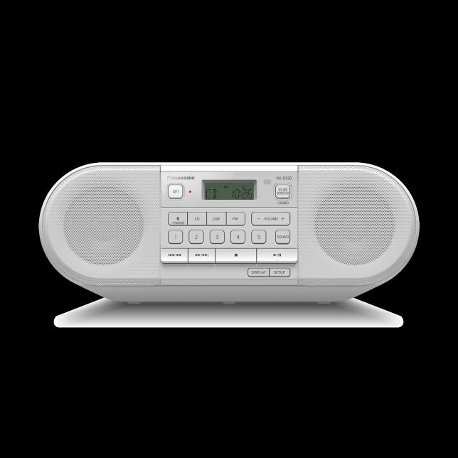 Foto RX-D550 – výkonné přenosné FM rádio a přehrávač CD s Bluetooth® : Bílá