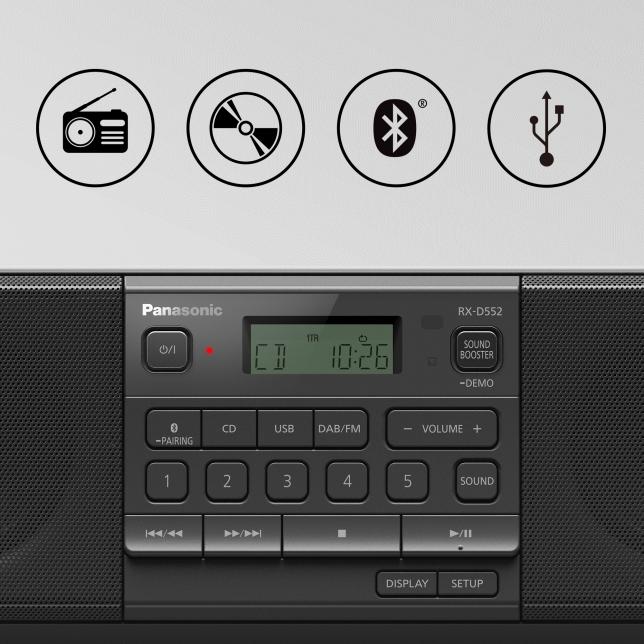 Vyberte si rádio, CD nebo hudbu z telefonu a USB