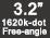 3.2-inch (8cm) 1620k-dot Free-angle LCD