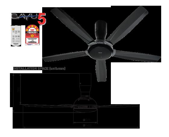 """BAYU 5-Blade Ceiling Fan (56"""") F-M14D5VBHH"""
