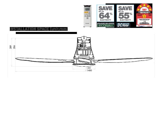 """ECONAVI 4 Blades Ceiling Fan F-M14HWVBSQH (56"""")"""