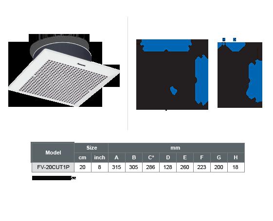 Ceiling Mount Ventilation Fan FV-20CUT1NAHP
