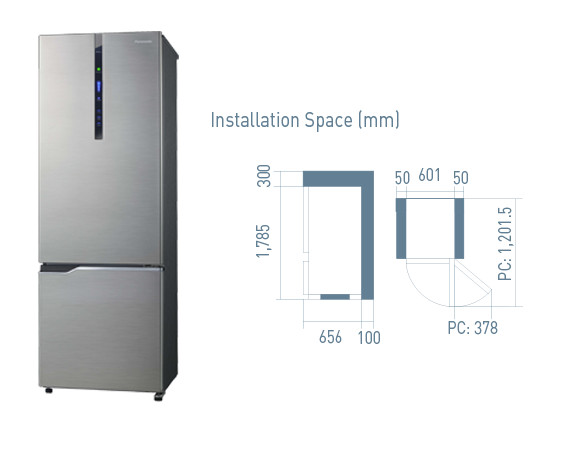 358L 2 Door Bottom Freezer Refrigerator - Econavi Inverter NR-BV368XS