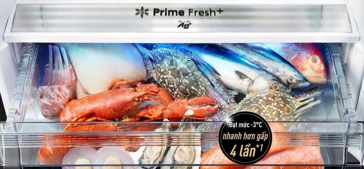 Tính năng cấp đông mềm nhanh hơn giúp bảo quản thực phẩm luôn tươi ngon nhờ công nghệ Prime Fresh+