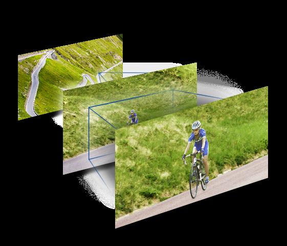 Encuadre flexible con gran angular de 25mm* y zoom óptico de 24x