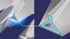 Acute 45˚ blade edge