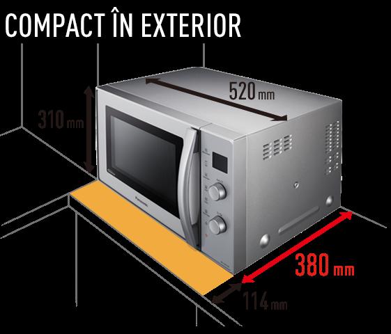 Cu 20% mai mult spaţiu disponibil pe blatul din bucătărie datorită designului cu ventilatorul deasupra